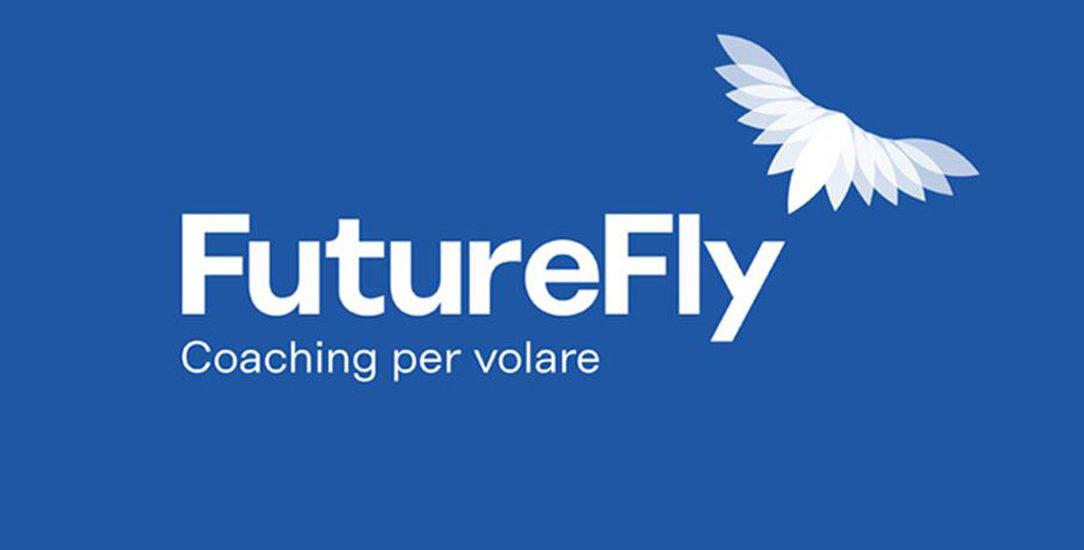 FutureFly logo negativo, blu-azzurro