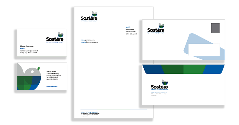 Sostera, brand stationery per azienda che si occupa di sostenibilità