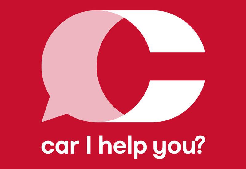 Car I Help You? logo negativo, rosso