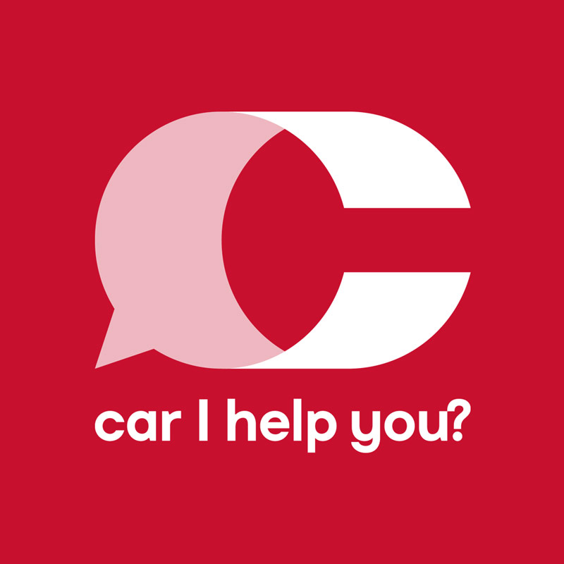 Car I Help You? logo negativo, rosso