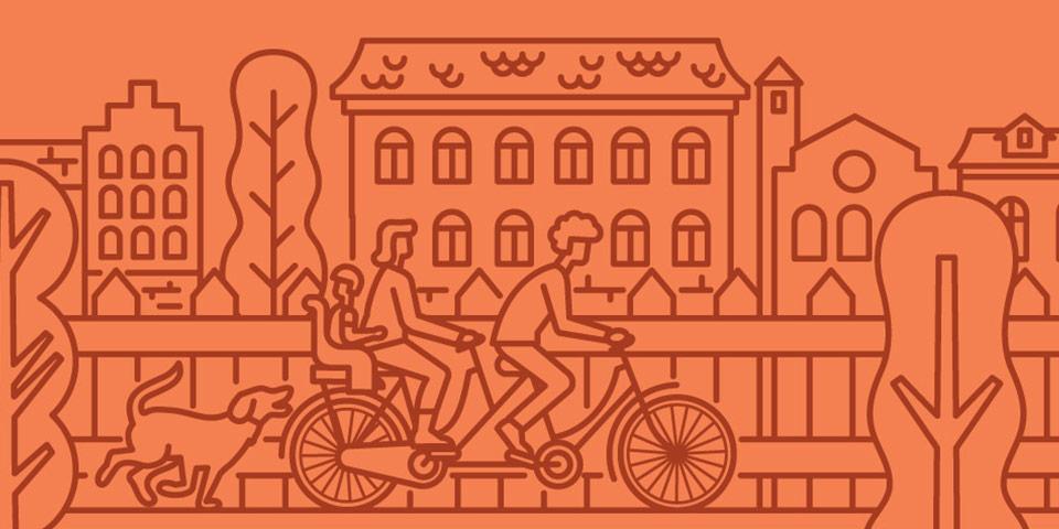 illustrazione famiglia in bici